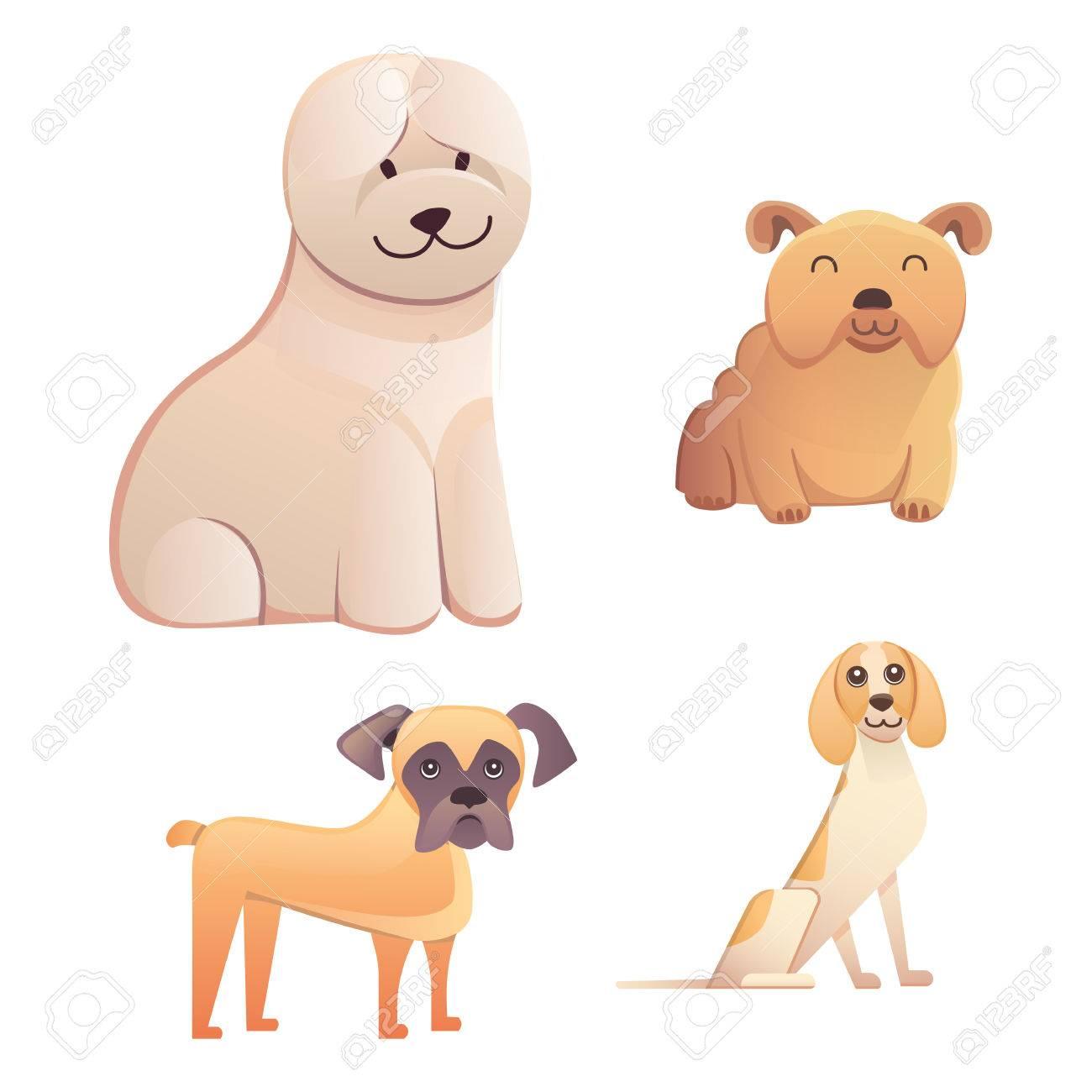 Diferentes Tipos De Perros De Dibujos Animados Perro Feliz Conjunto