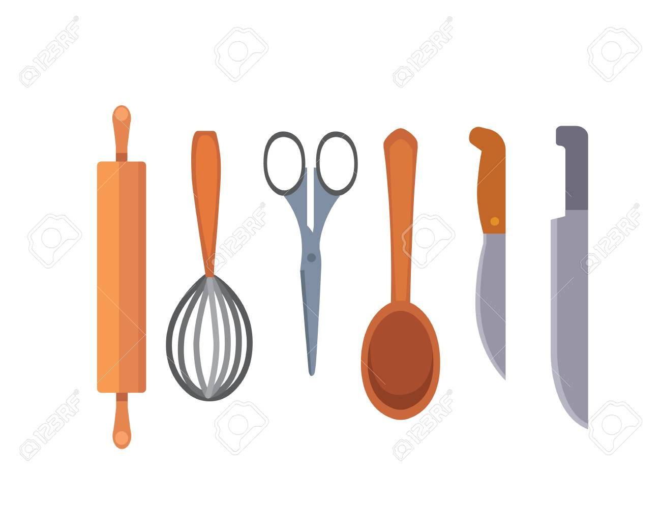 Stock Photo   Vector Set Kitchen Utensils. Cooking Tools Flat Style. Cook  Equipment Isolated Objects