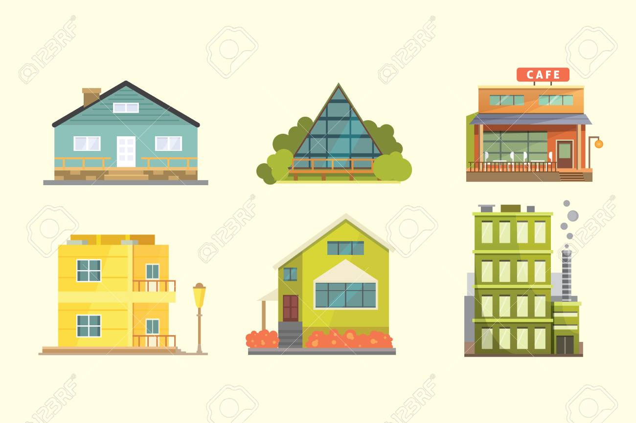 Ensemble de maisons d\'habitation de styles différents. Bâtiments de  l\'architecture de la ville rétro et moderne. Illustrations vectorielles de  dessin ...