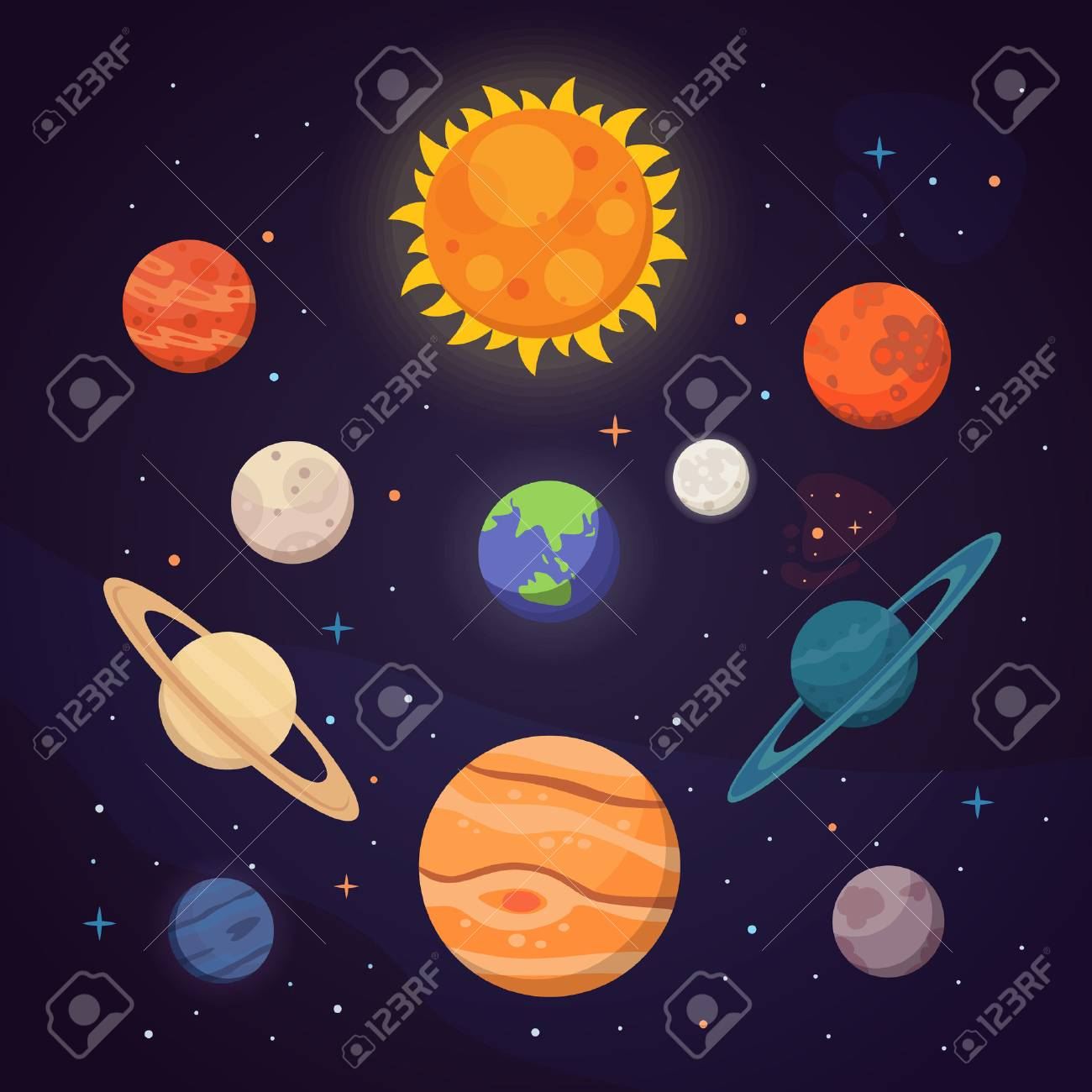Set of colorful bright planets. Solar system, space with stars. Cute cartoon vector illustration. - 91761318