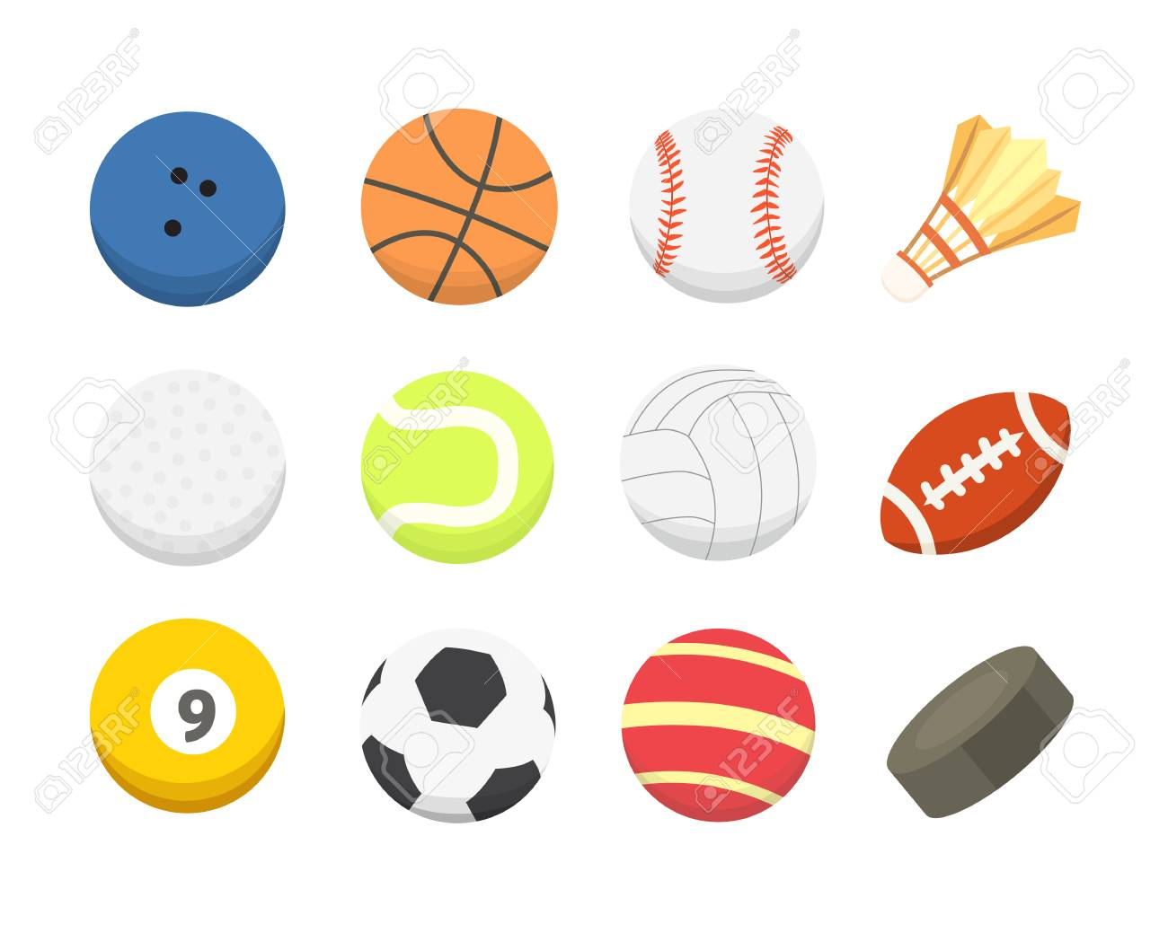 Vector Cartoon Colorful Ball Set Sport Balls Icons Isolated Royalty Free Cliparts Vectors And Stock Illustration Image 93600189