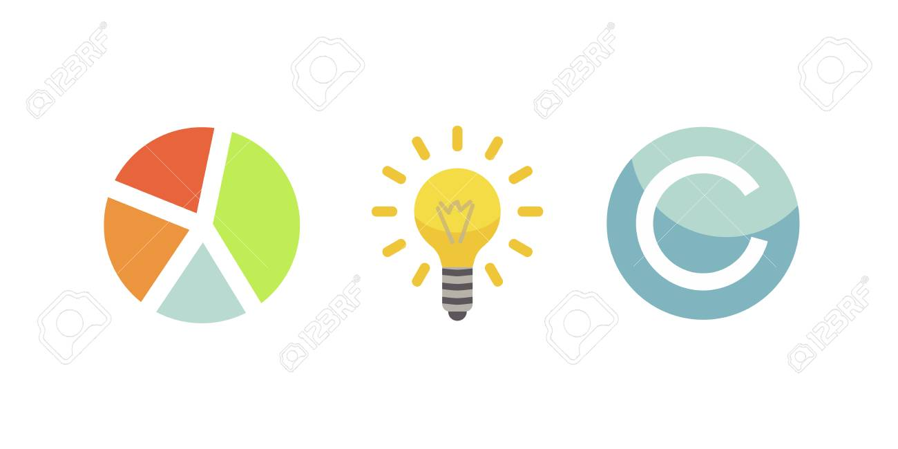 Token ICO vector illustration and blockchain technology icons