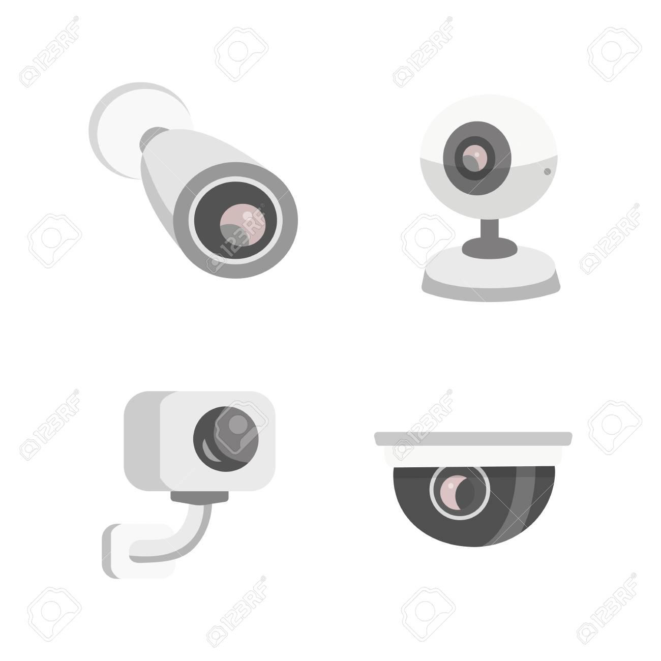 Vector Set Security Camera Cctv Cartoon Illustration Safety