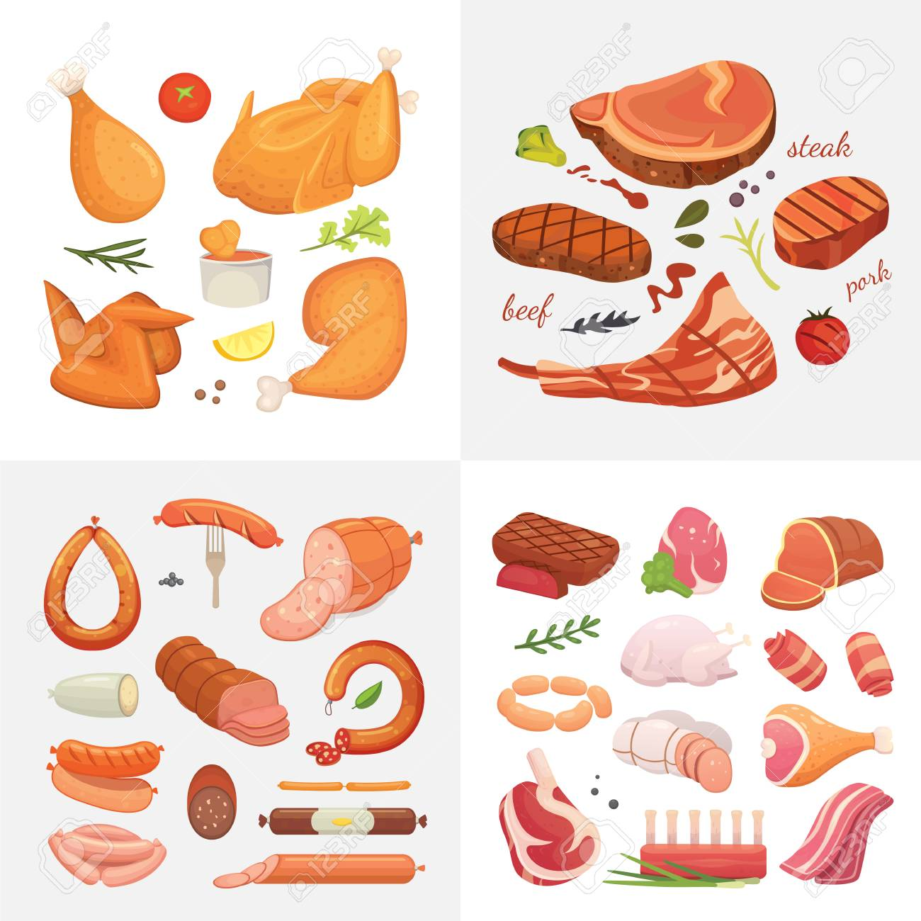 Different kind of meat food icons set vector. Raw ham, set grill chiken, piece of pork, meatloaf, whole leg, beef and sausages - 110166050