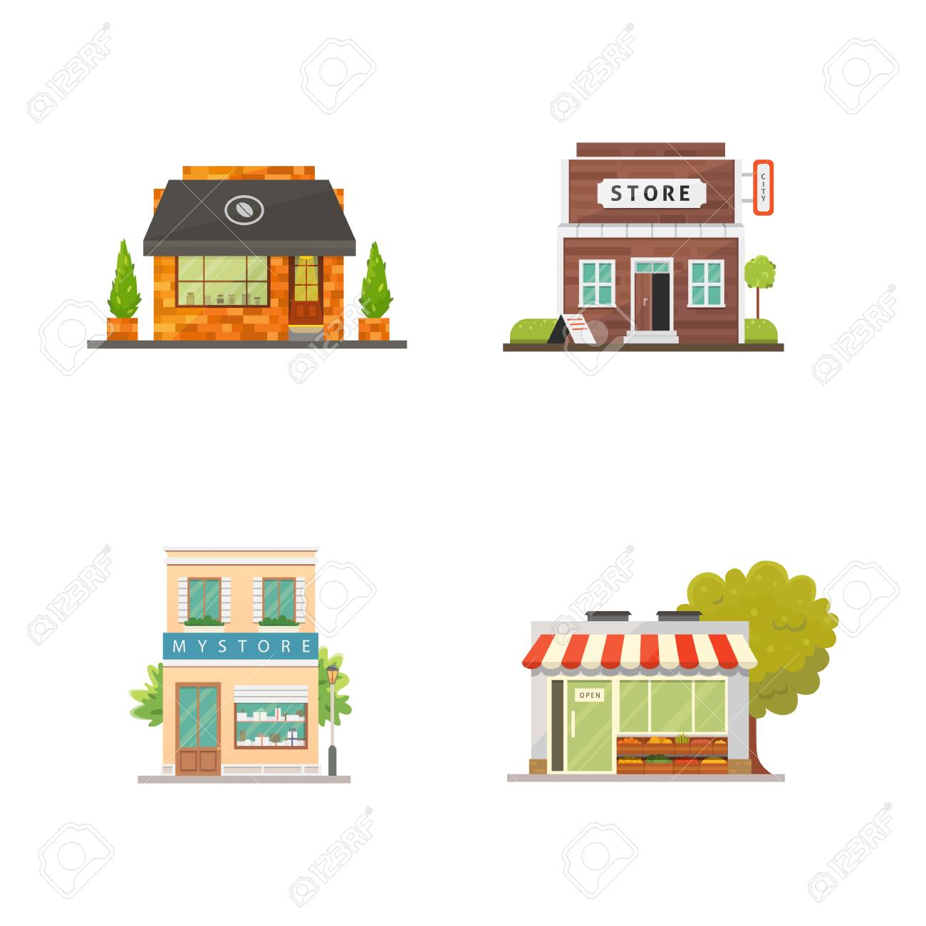 Shop Store Buildings Vector Illustrations Set Market Exterior Royalty Free Cliparts Vectors And Stock Illustration Image 115859159