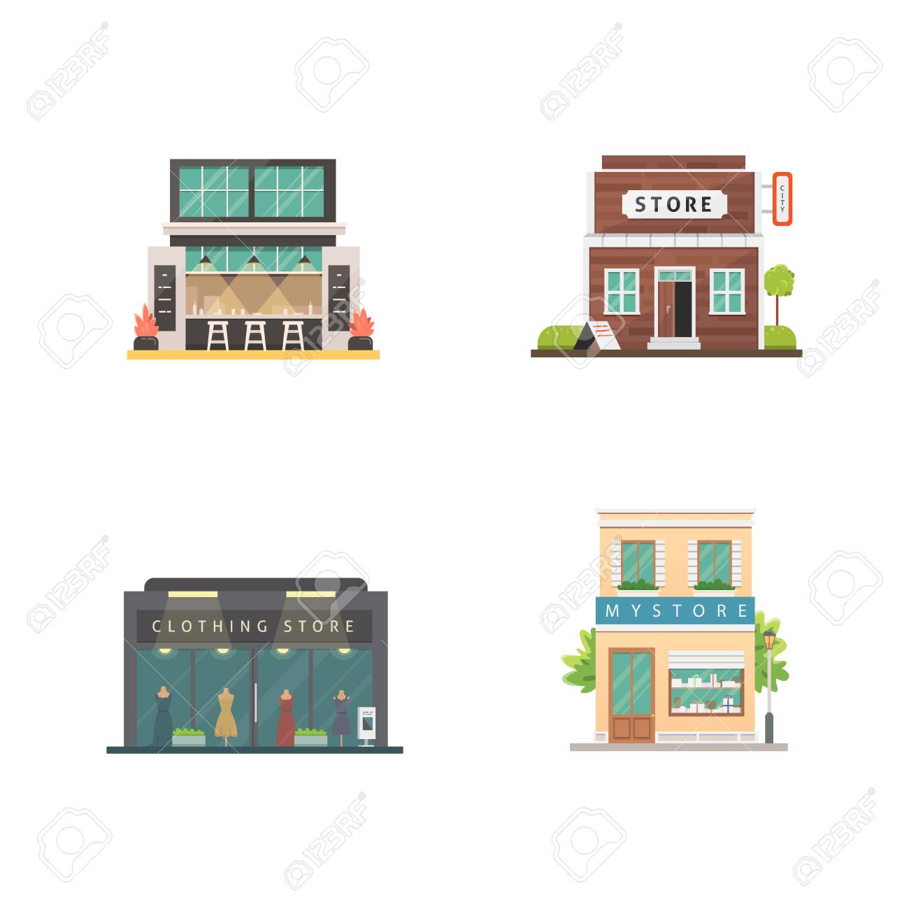 Shop Store Buildings Vector Illustrations Set Market Exterior Royalty Free Cliparts Vectors And Stock Illustration Image 115859168