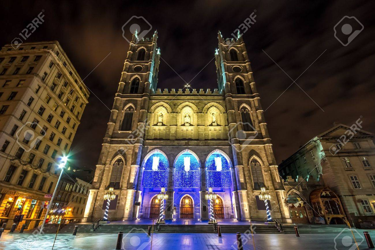The Notre-Dame Basilica Of Montreal With Christmas Decoration ...