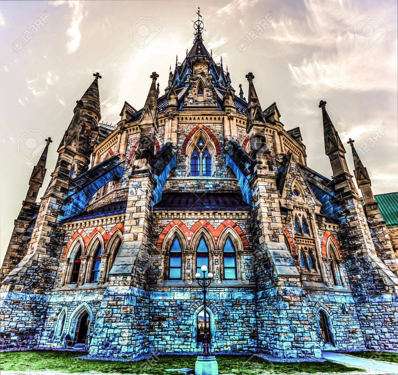 Outside Architecture building of the Library of Parliament in Ottawa HDR image Stock Photo - 17423942
