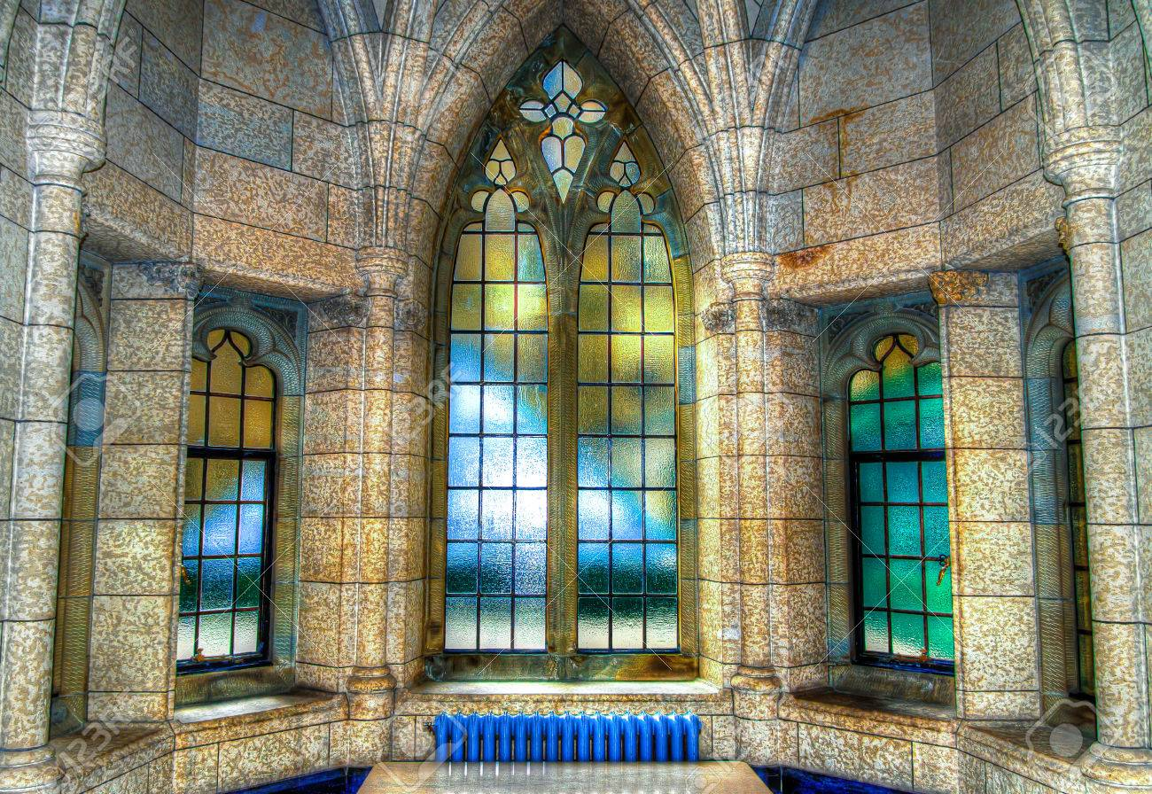 Interior windows architectural - The Hdr Image Of Old Architectural Interior Windows In The Canadian Parliament Building In Ottawa Stock