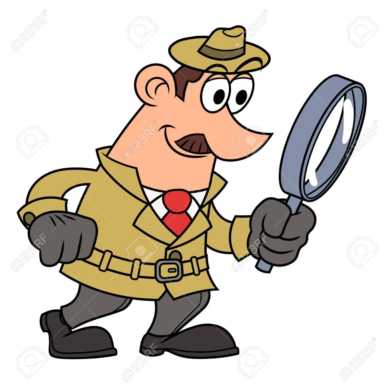 ルーペを通して見る探偵のイラスト。 ロイヤリティフリークリップアート