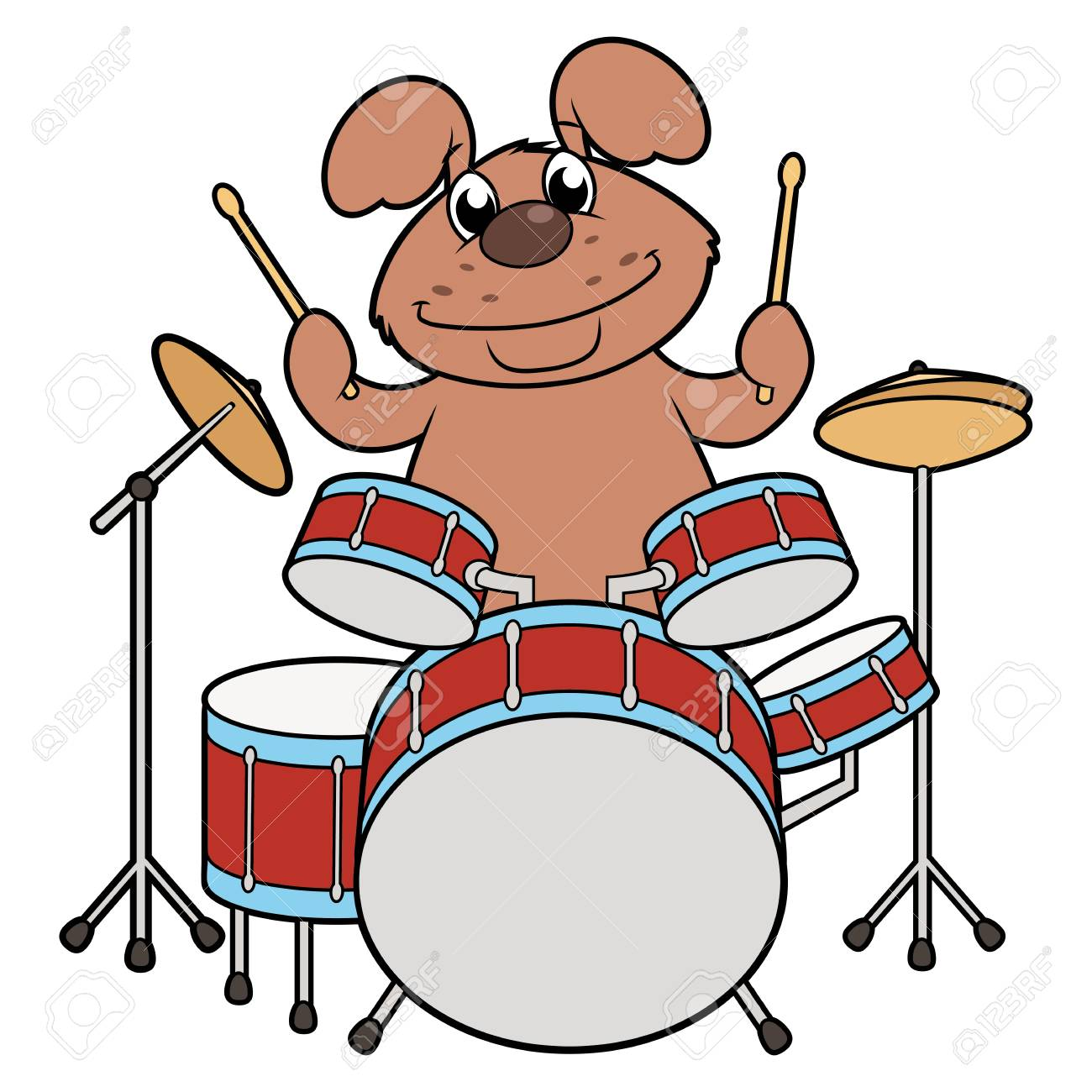 Illustration Of The Cute Smiling Dog Playing Drums Royalty Free Cliparts Vectors And Stock Illustration Image 102494538