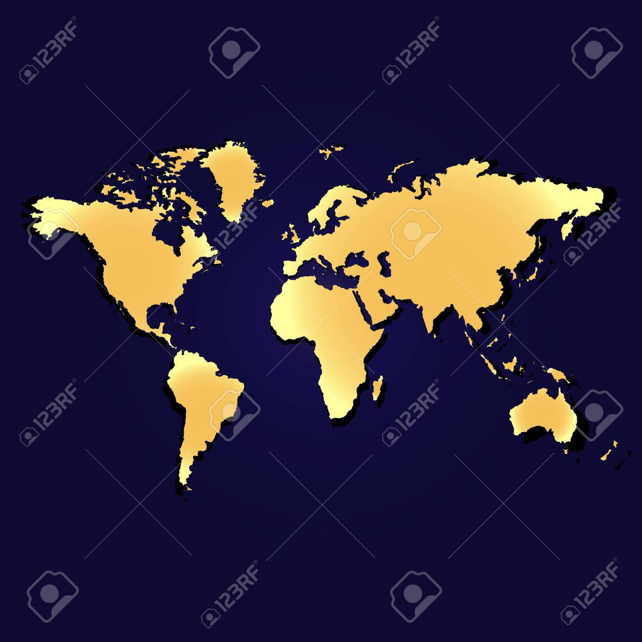 Map of the planet earth. Continents and oceans. Golden color. Vector illustration - 147362007