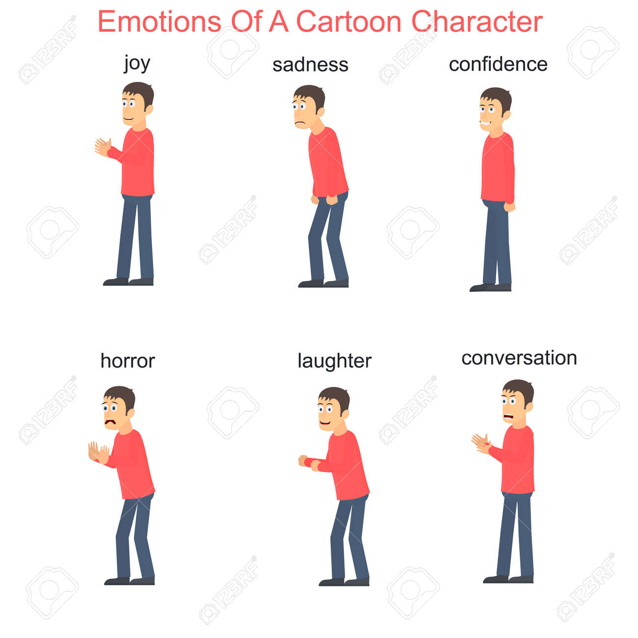 Emotions of a cartoon character, vector illustration - 165067108
