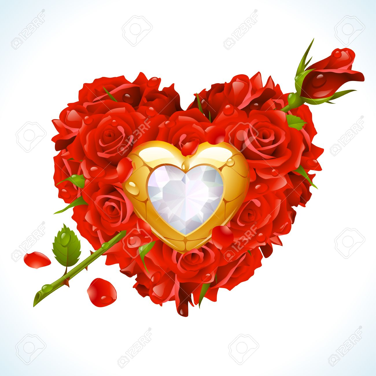 ea75e3260de6 Red Roses and golden jewel in the shape of heart with arrow Stock Vector -  8046274