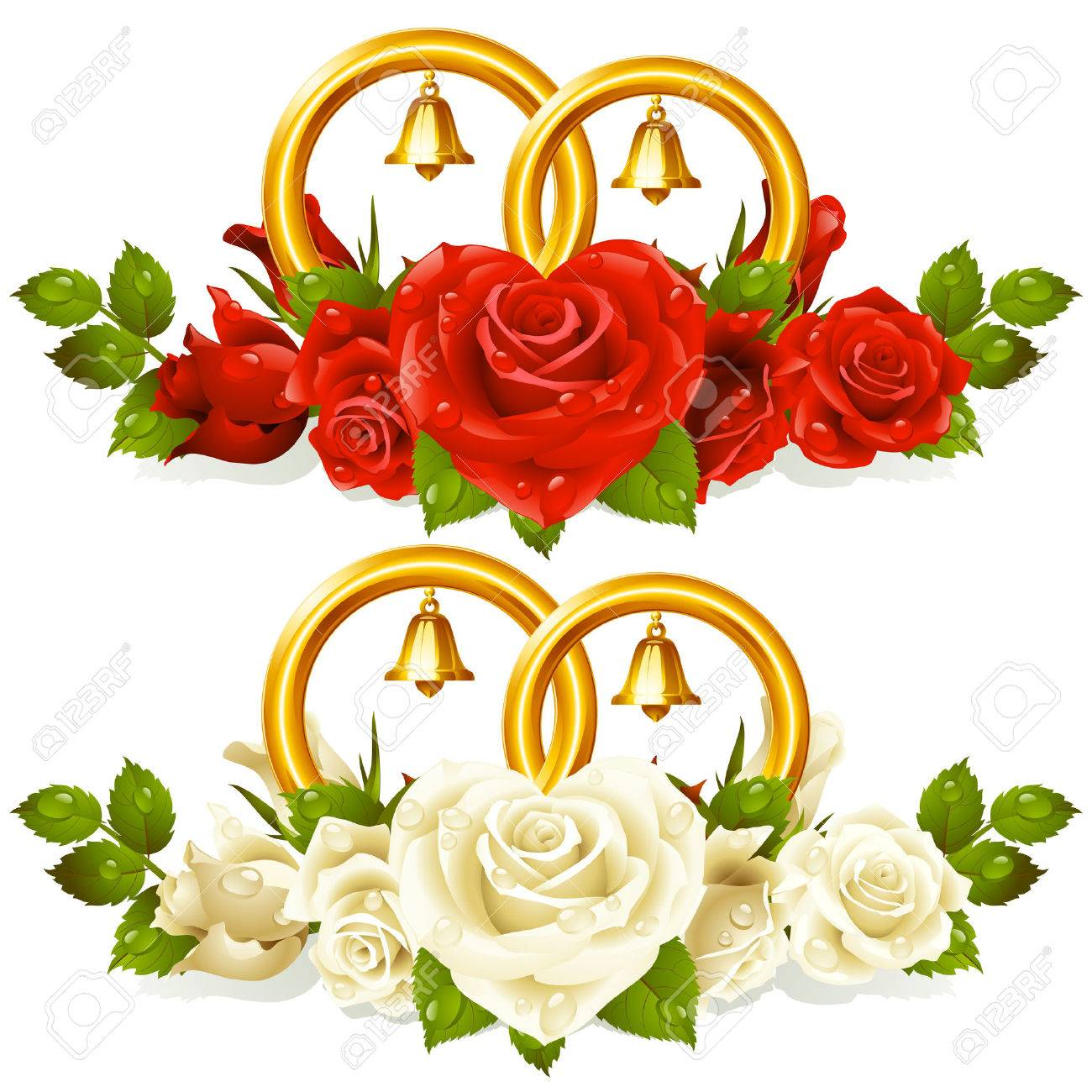2b86d98c2995 Wedding rings and bunch of roses Stock Vector - 8046277
