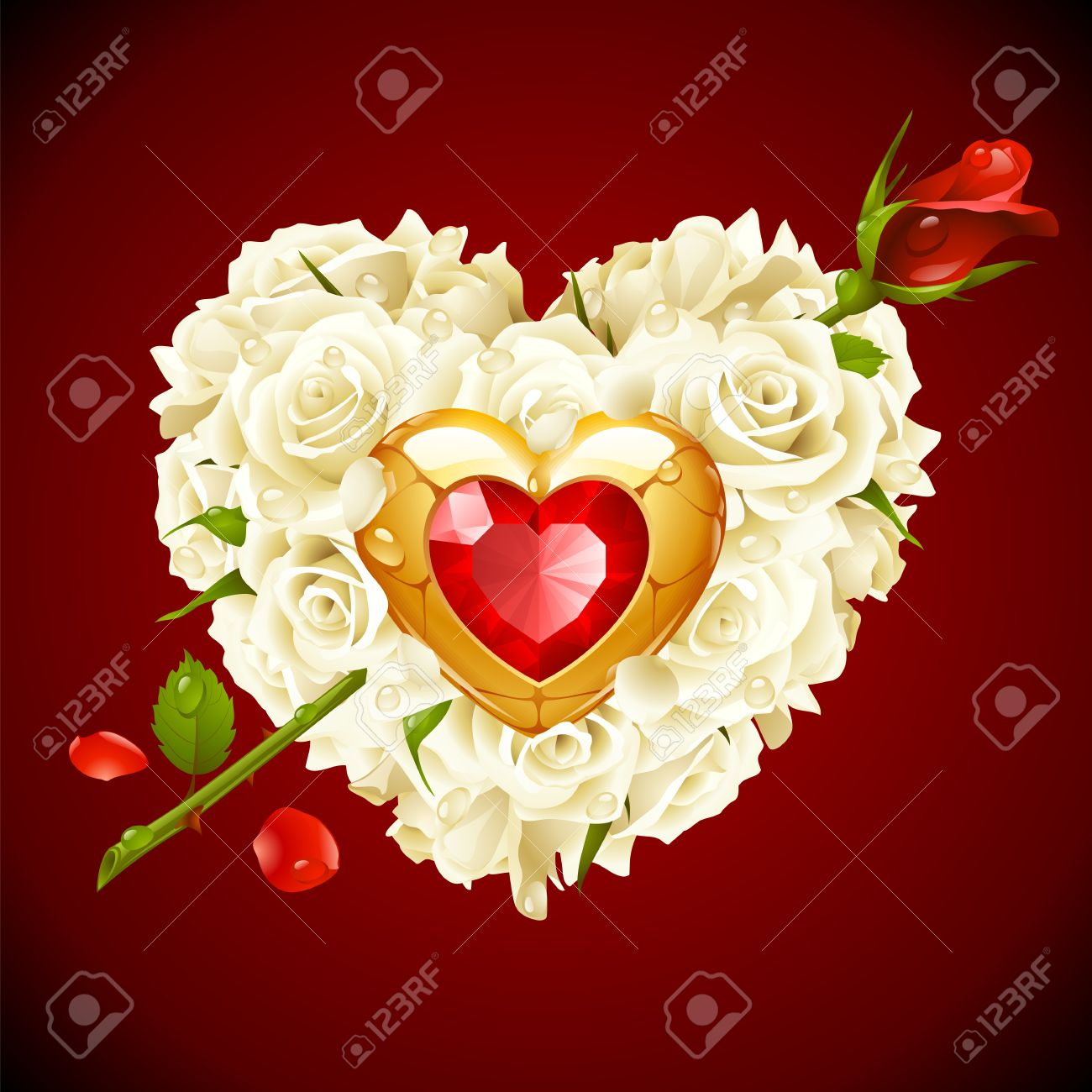8f9e95a74f8e Red Roses and golden jewel in the shape of heart with arrow Stock Vector -  8140896