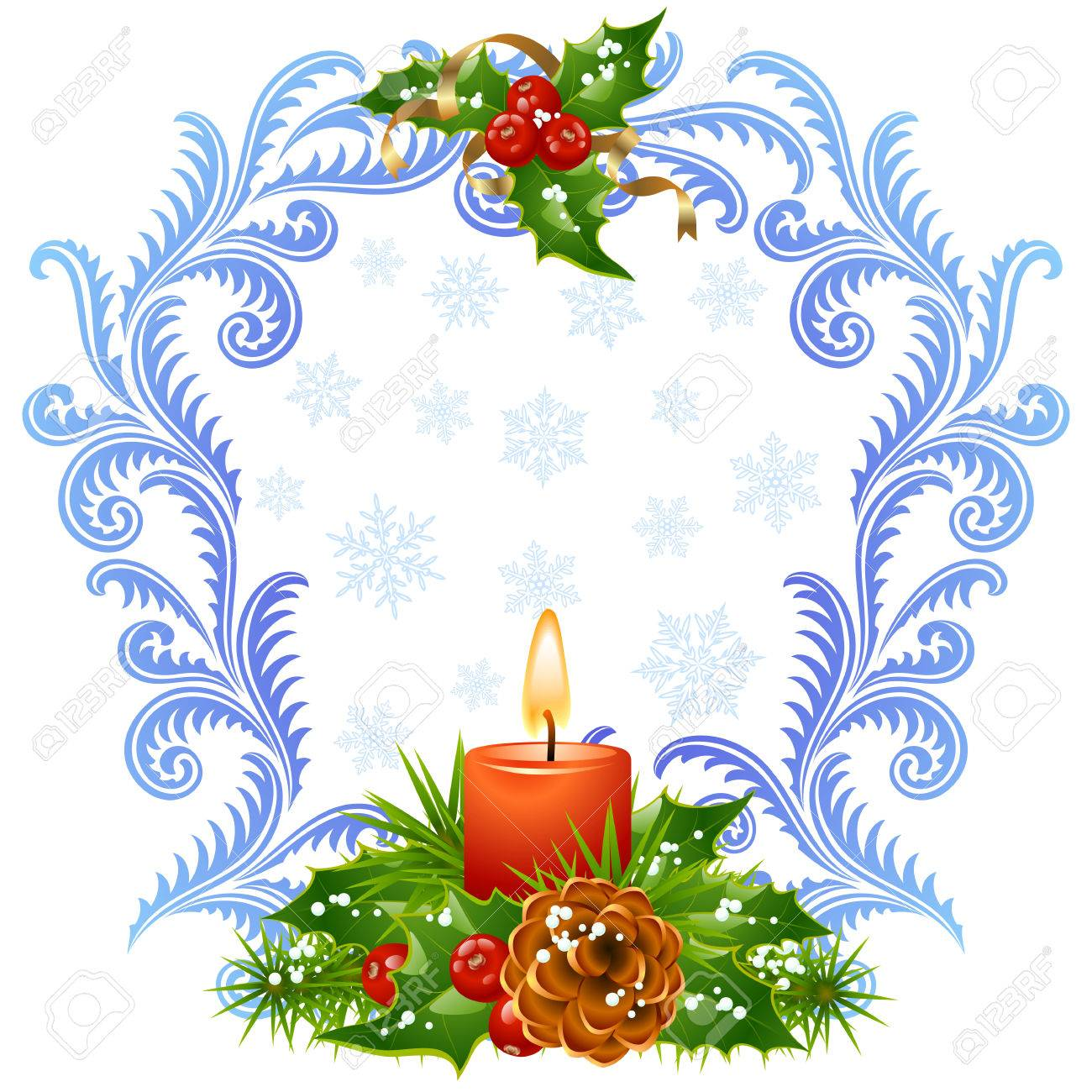 Christmas and New Year greeting card 3. Red candle and holly Stock Vector - 8140920