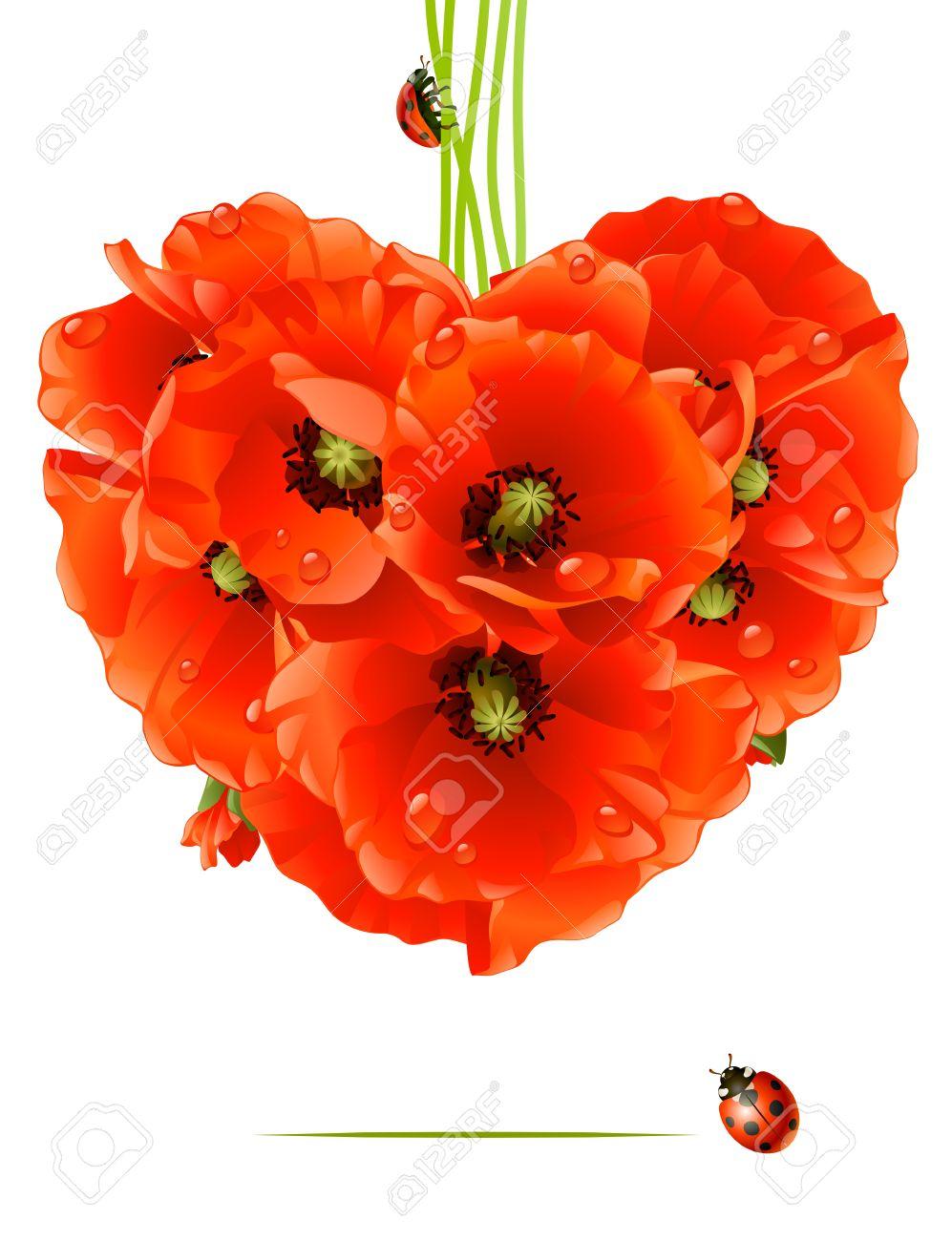 Floral love card. poppy heart Stock Vector - 8202463