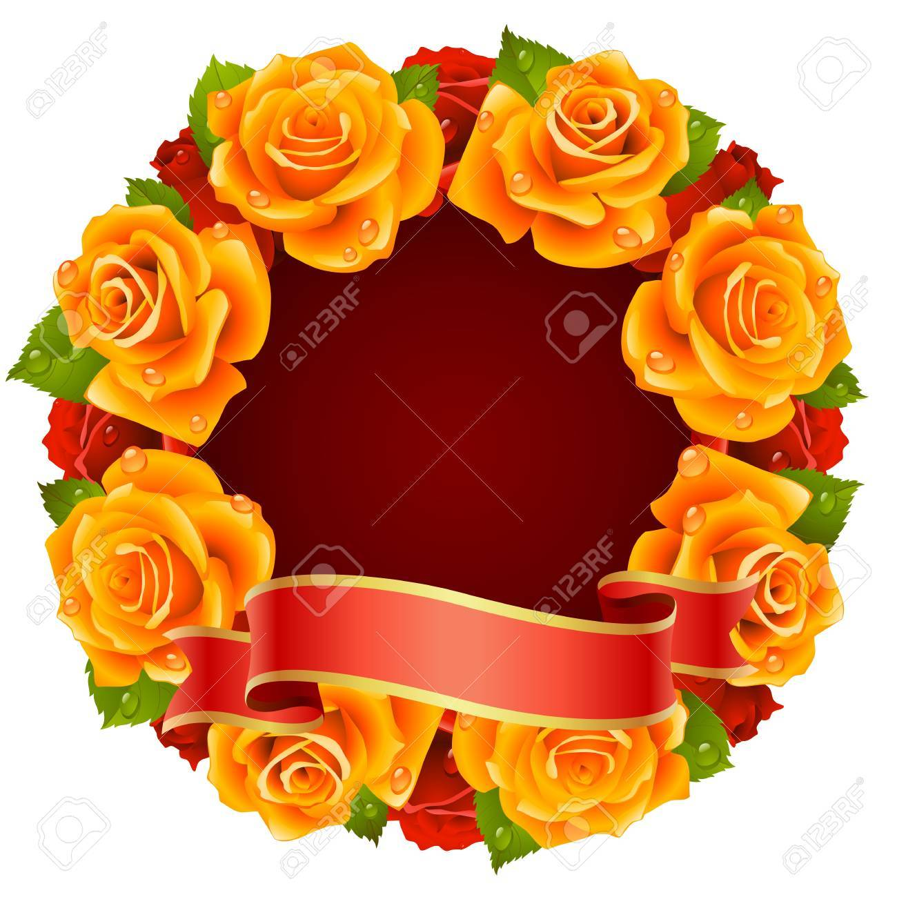 orange Rose Frame in the shape of round Stock Vector - 8202471