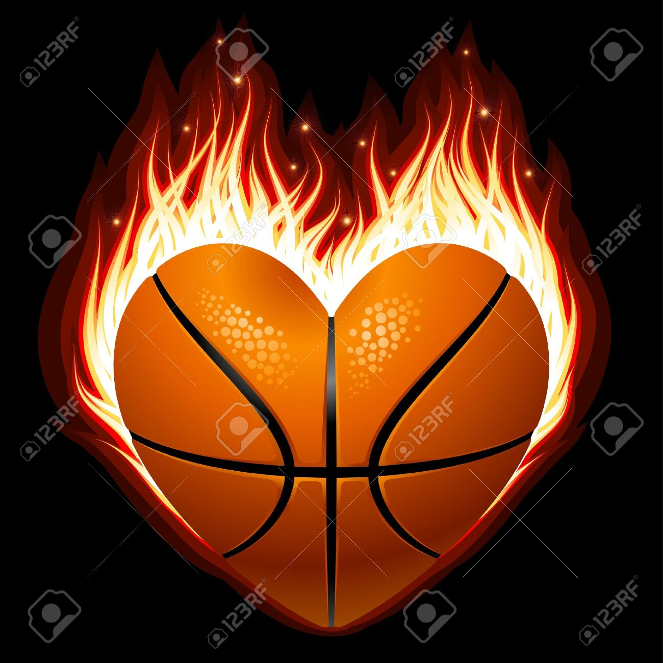 basketball on fire in the shape of heart royalty free cliparts rh 123rf com heart shaped basketball cookies heart shaped basketball png