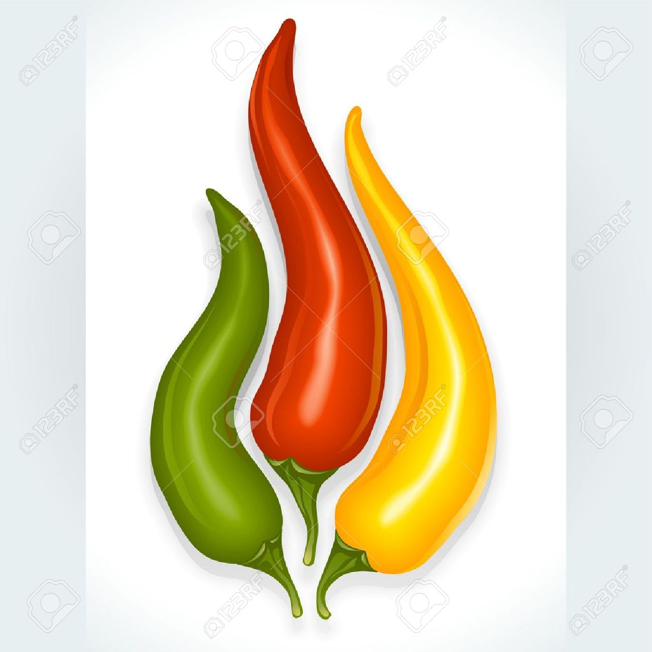 Hot chili pepper in the shape of fire sign isolated on white background - 11172799