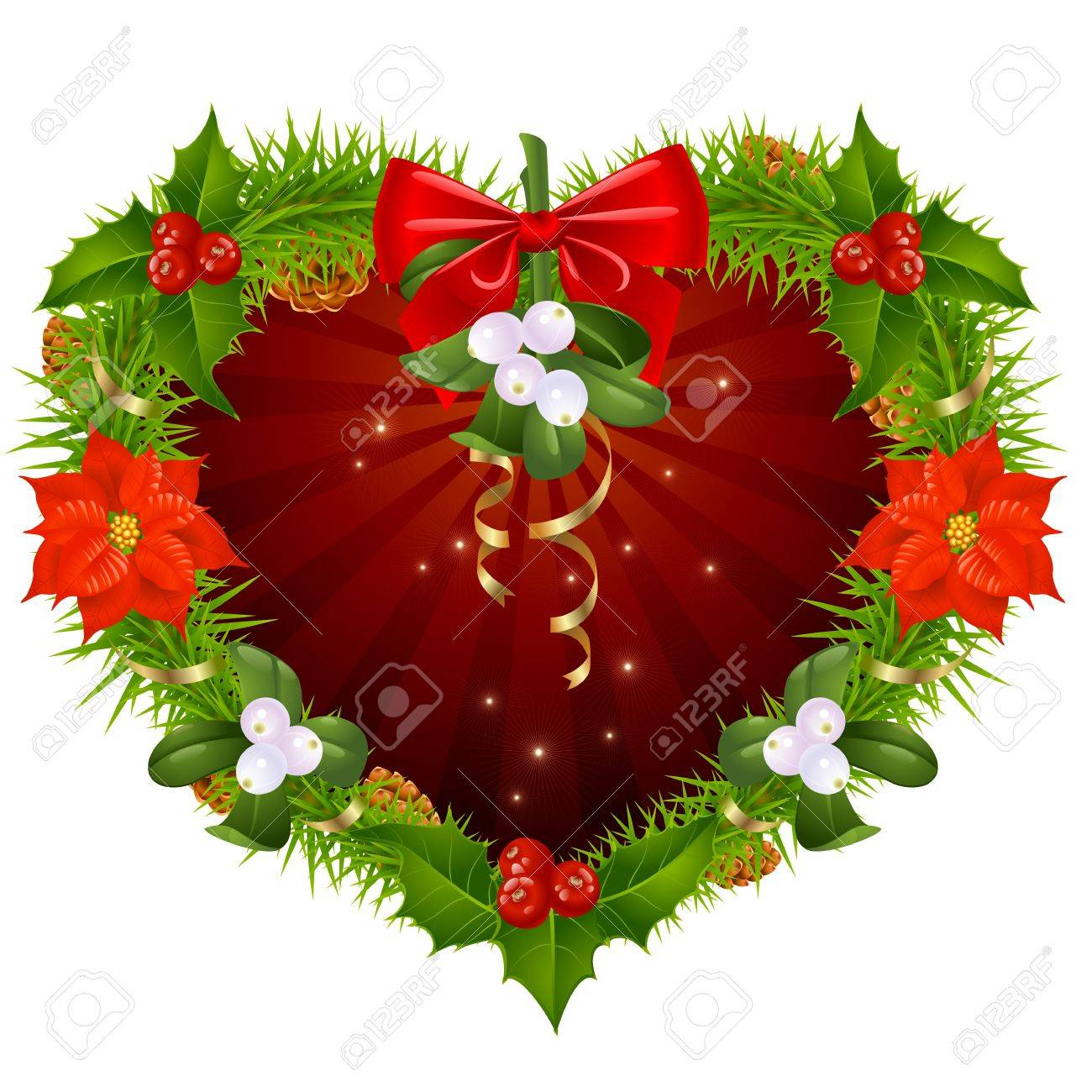 Christmas wreath in the shape of heart Stock Vector - 11222507