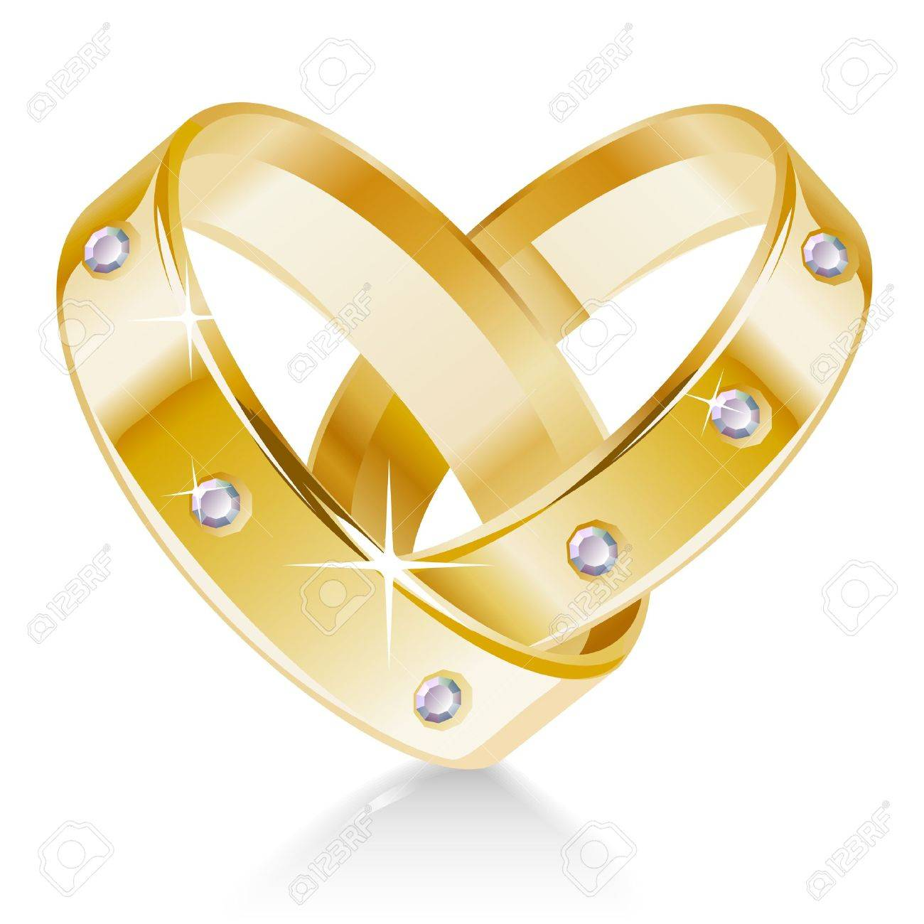 Two Wedding Rings Shaped Heart Royalty Free Cliparts Vectors And