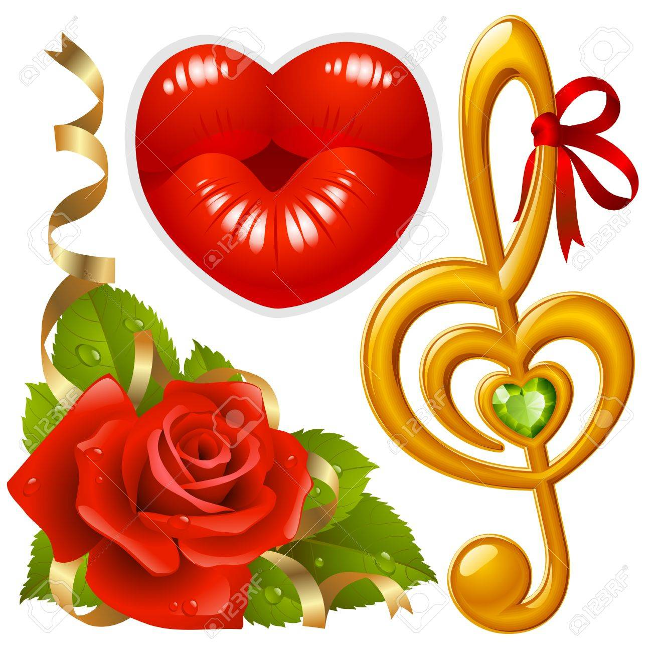 set of Love: corner with red rose, femail lips in the shape of heart and golden Treble clef Stock Vector - 11902769