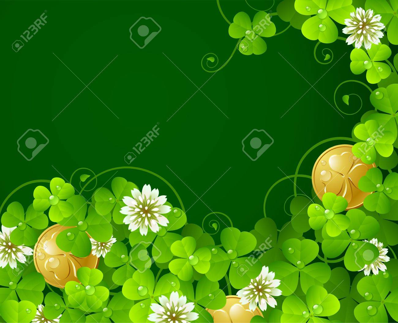 6d242b289469 Patricks Day background  Clover glade and golden coins Stock Vector -  12173232