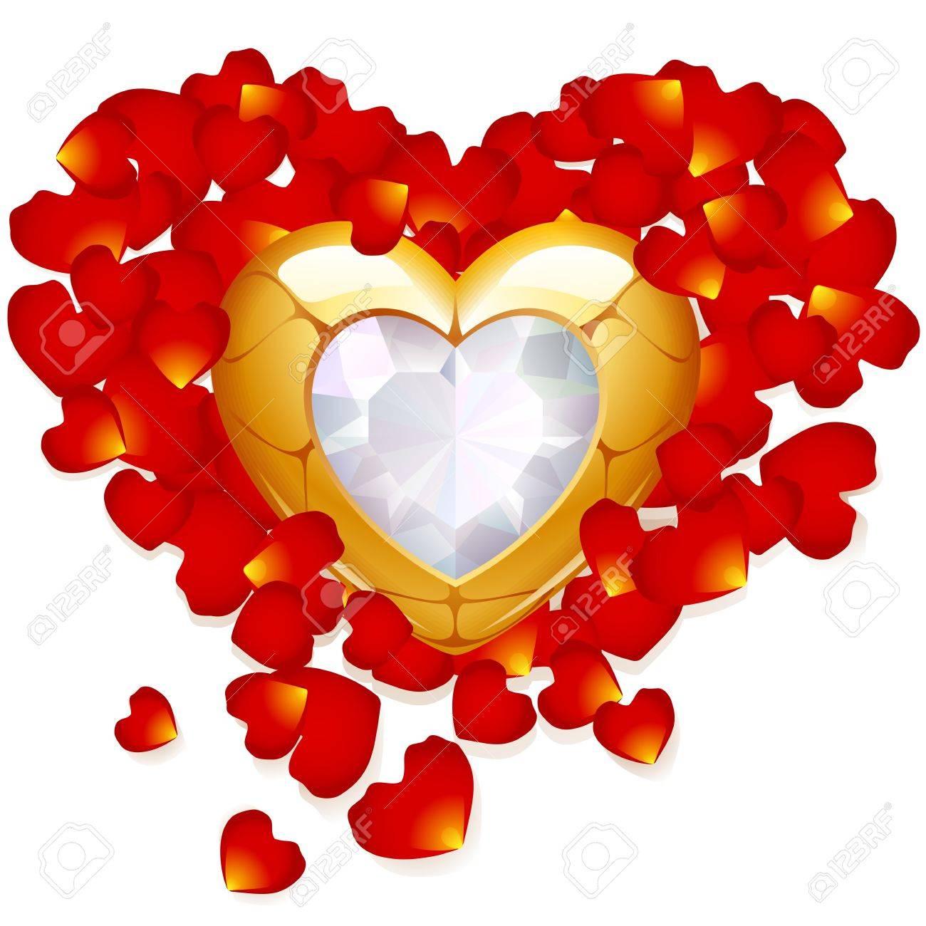 517909247714 Rose petal and jewel heart Stock Vector - 12173230