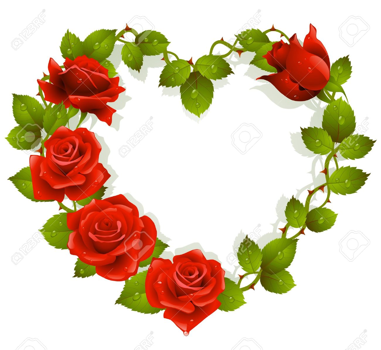 Framework From Red Roses In The Shape Of Heart Royalty Free Cliparts ...