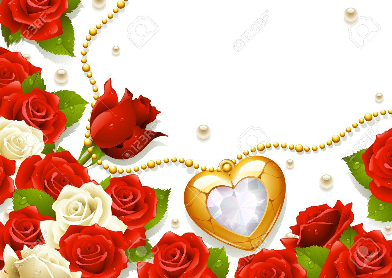 Postcard with roses, pearls and medallion in the shape of heart Stock Vector - 12173245
