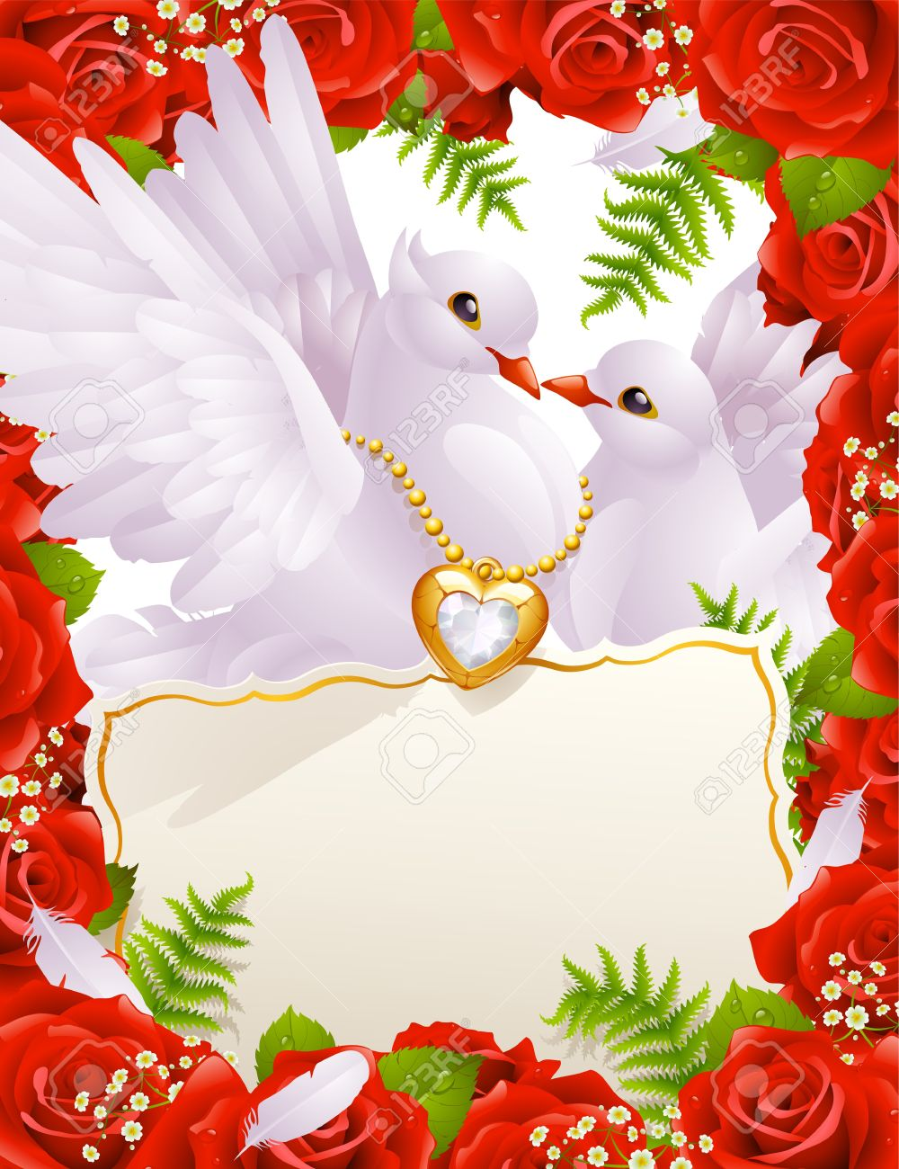 Greeting Card With Doves Royalty Free Cliparts Vectors And Stock