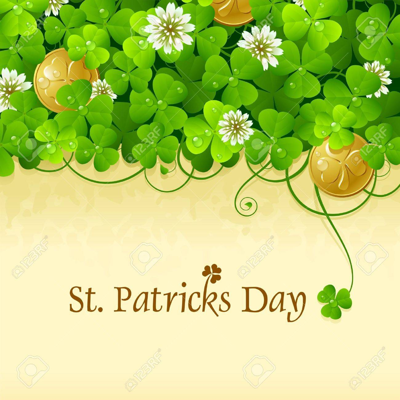 9b3be8f397f0 St. Patricks Day frame with clover and golden coin 5 Stock Vector - 12173260
