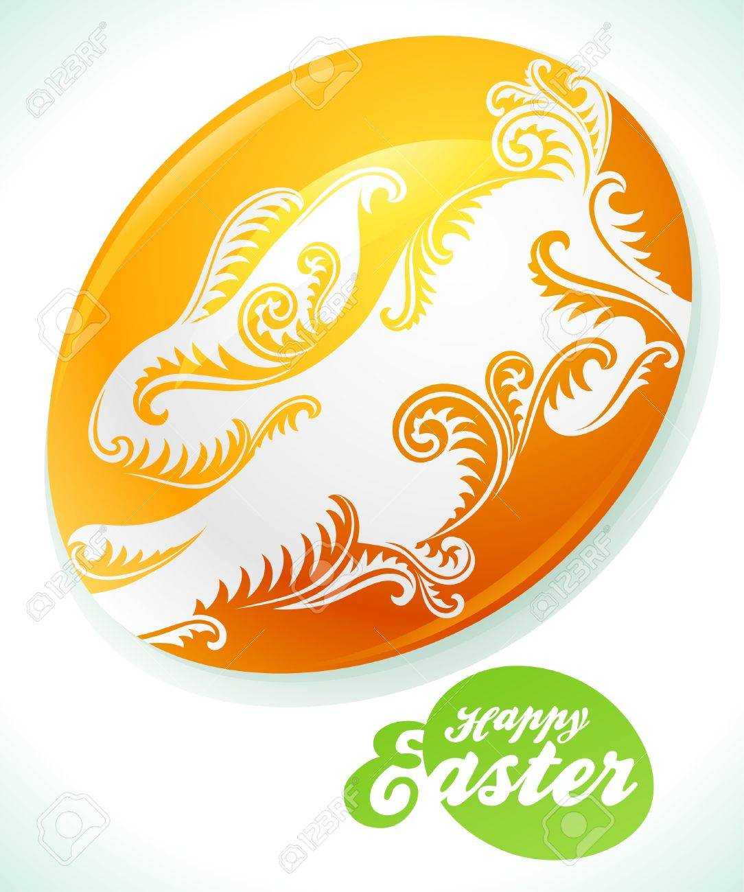 Cute drawing of white bunny on Easter egg Stock Vector - 12477216