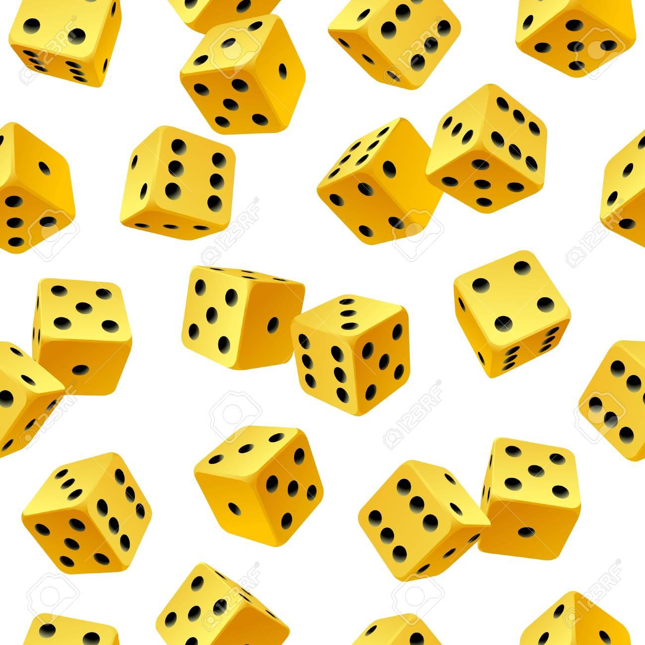 Vector yellow dice seamless background Stock Vector - 12796657
