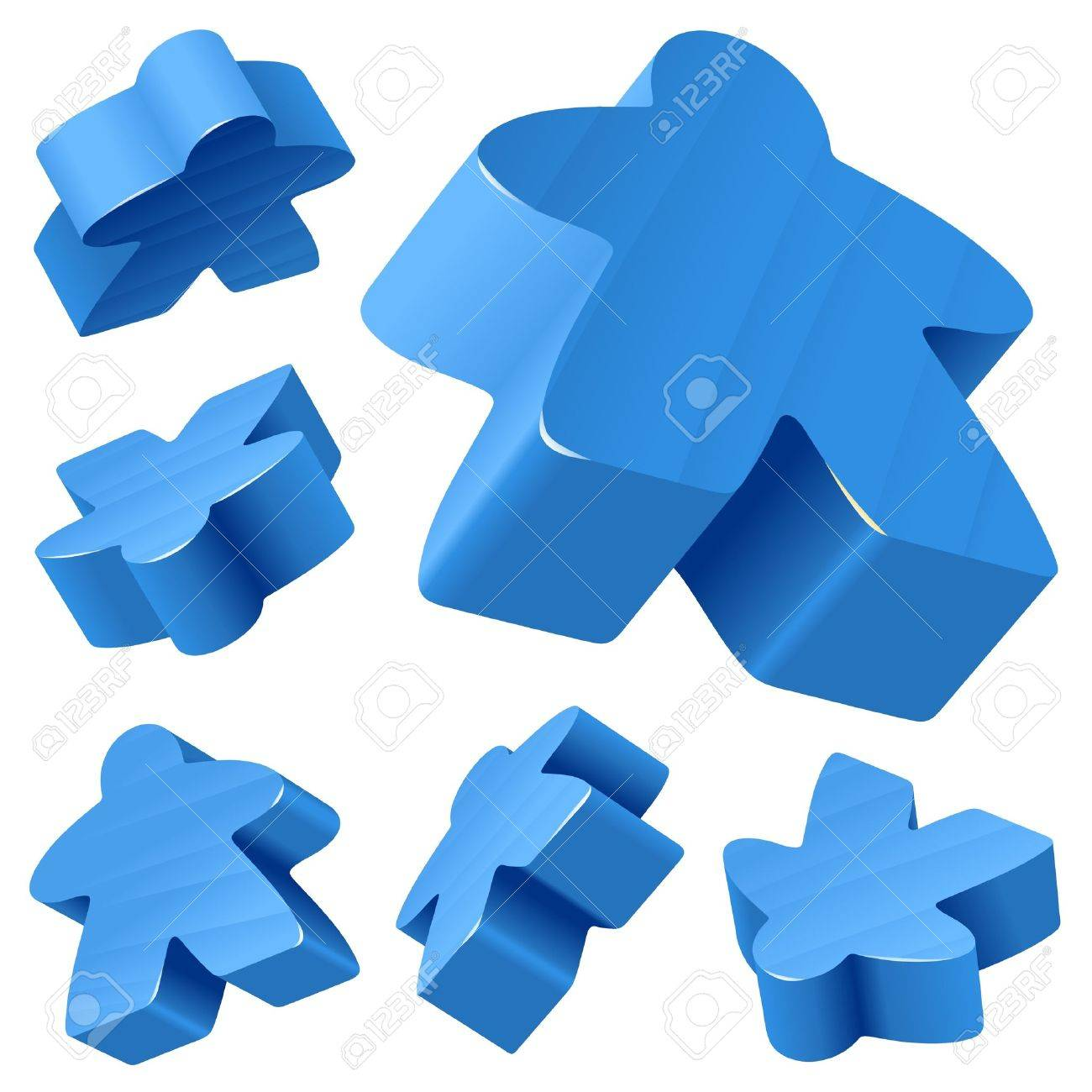 Blue wooden Meeple vector set isolated on white. Symbol of family board games. Stock Vector - 12796620