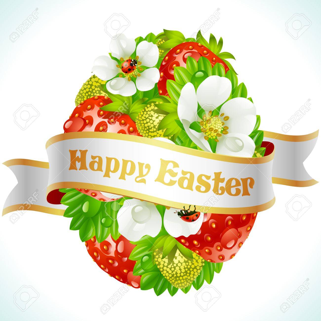 Vector Easter egg from strawberry and flowers Stock Vector - 13643308