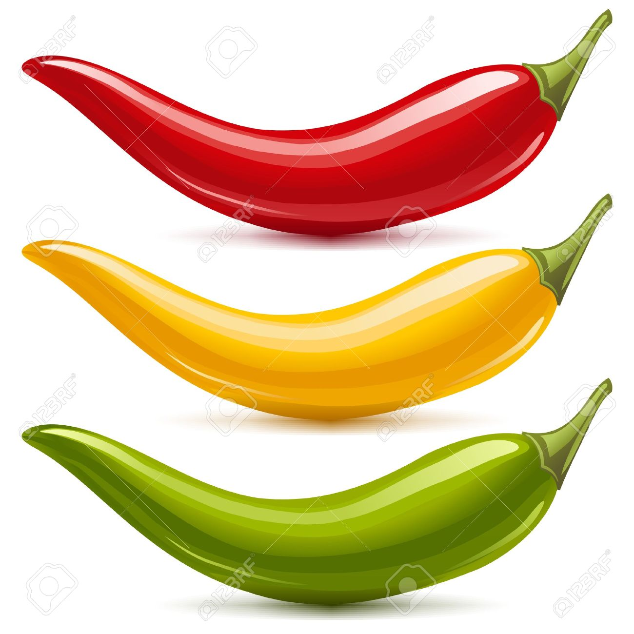 Hot chilli pepper vector set isolated on white background  Red, yellow and green Stock Vector - 13643290