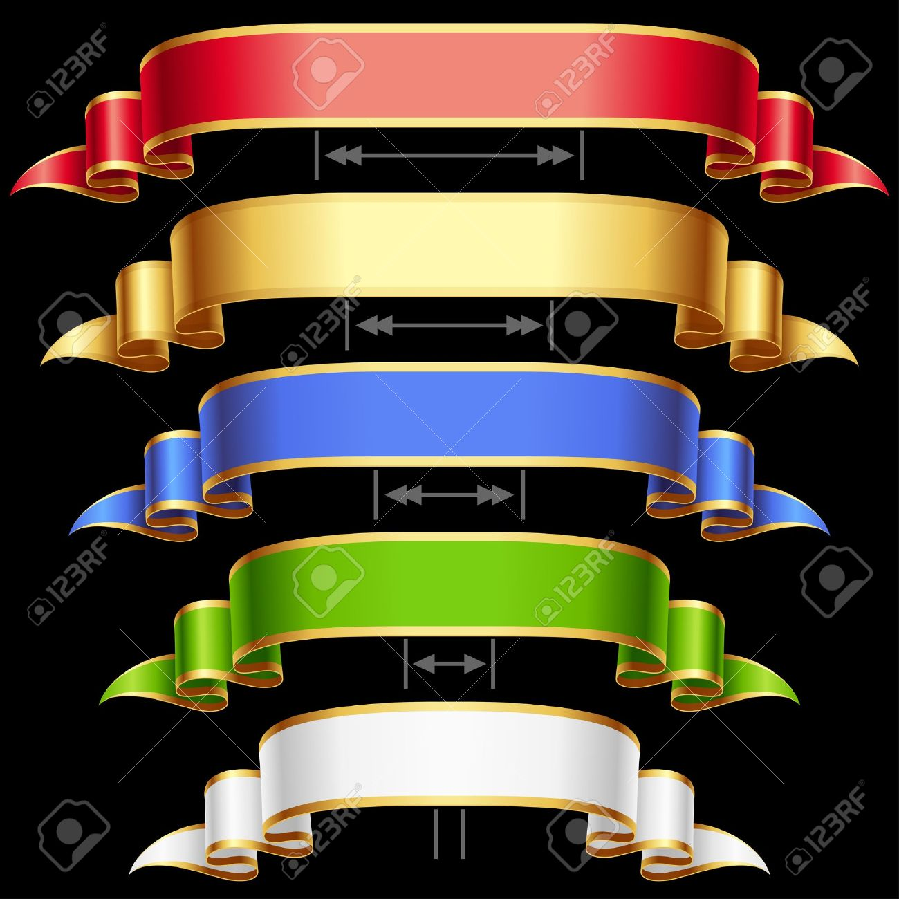 Ribbon set with adjusting length Vector red, golden, blue, green and white frame isolated on background - 13643292