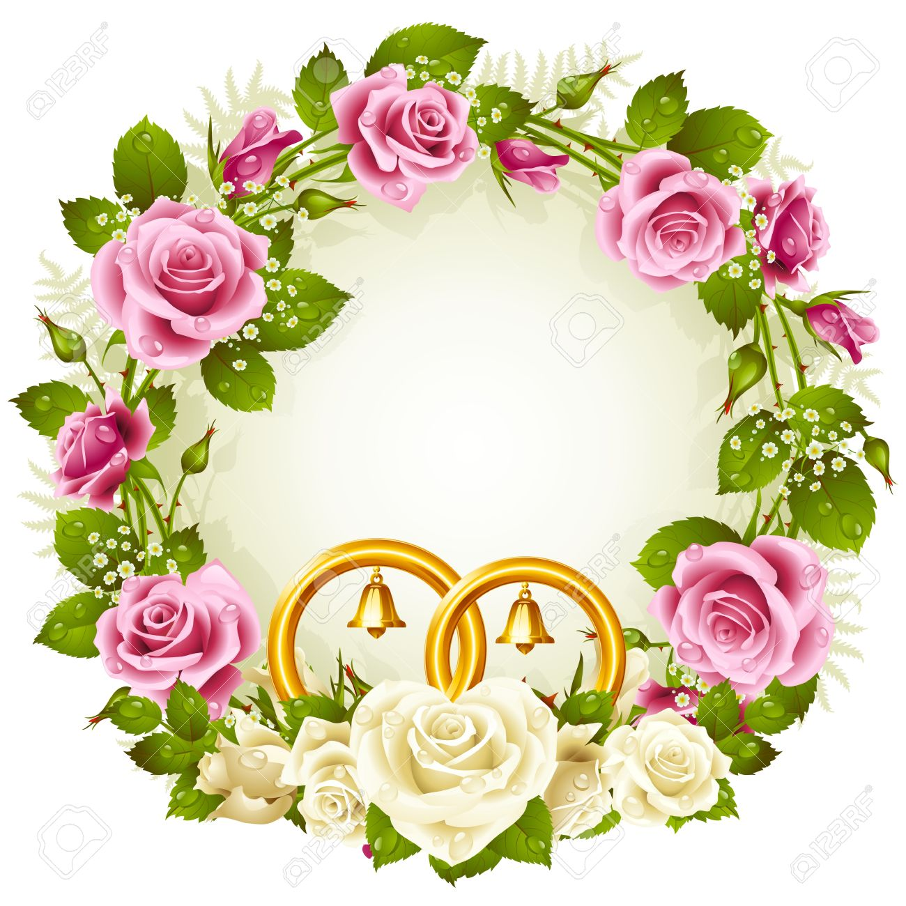 Vector round frame with pink flowers on white background in pastel - Yellow Rose Border Flower Frame Vector White And Pink Rose With Golden Wedding Rings Isolated