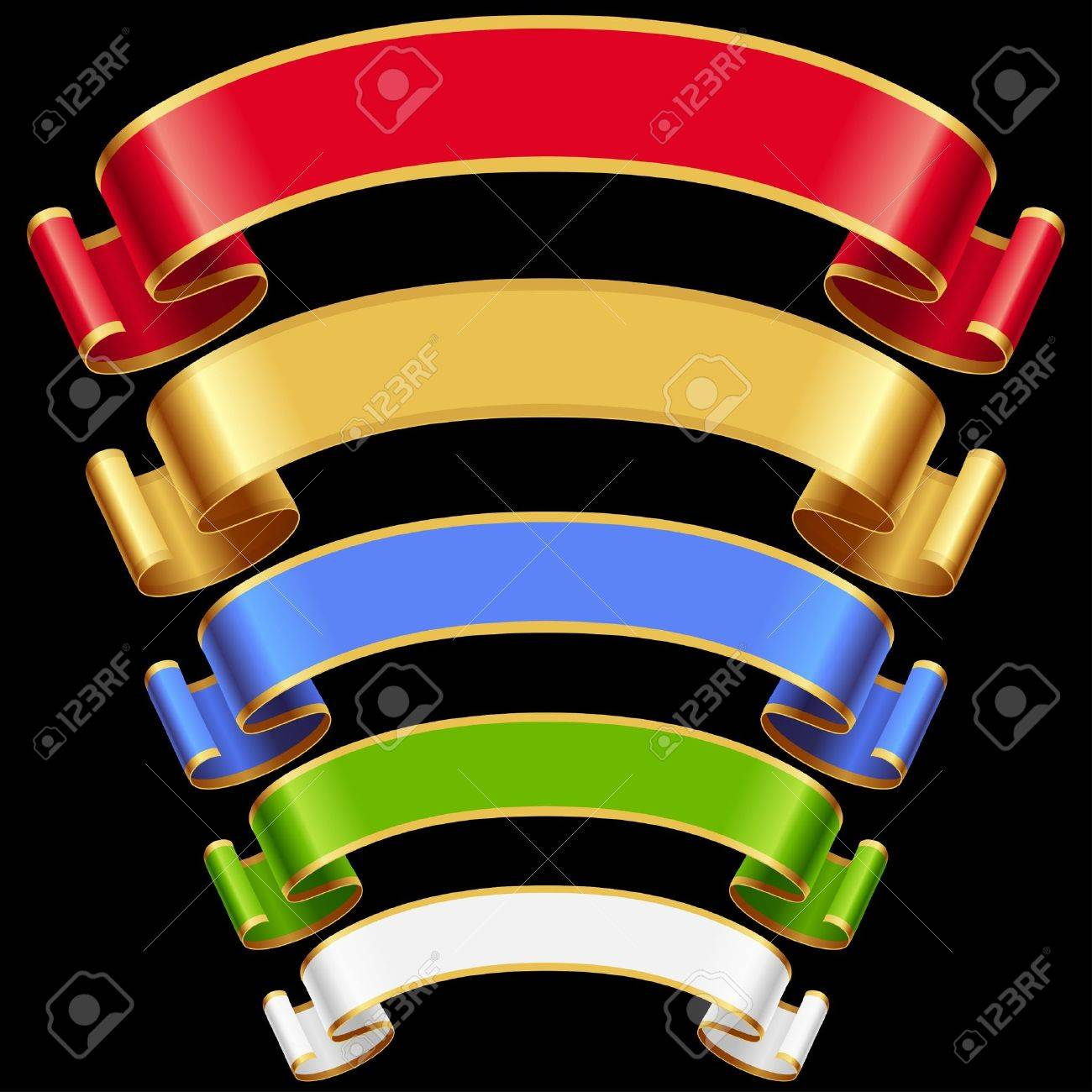 Ribbons set. Multicolored banners isolated on black background Stock Vector - 14974485
