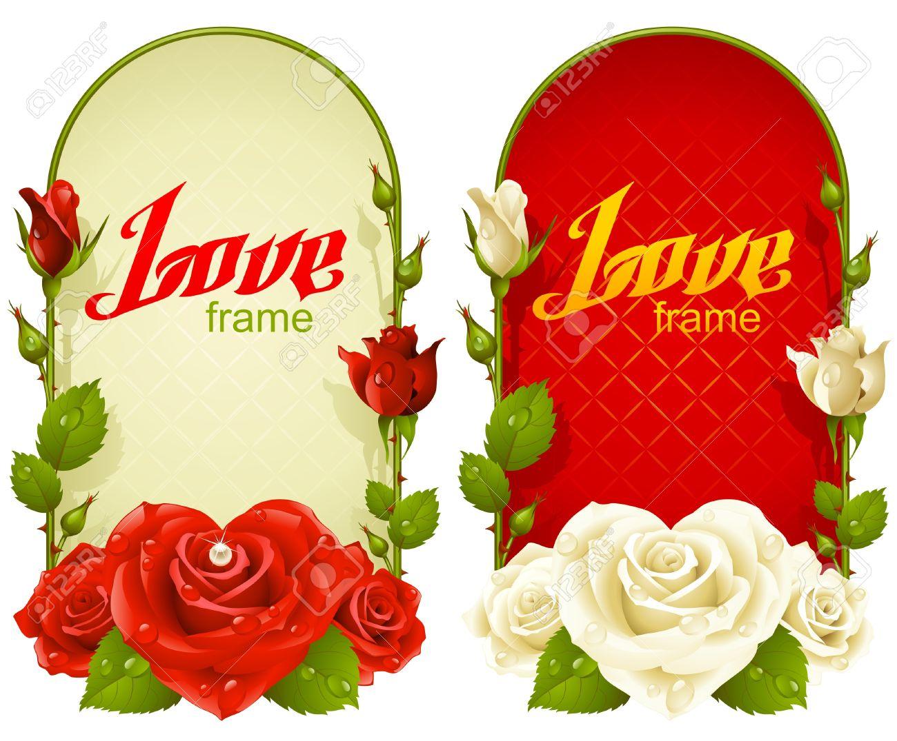 Vector Rose Frames. Wedding, Birthday Or Valentine Day Vertical ...
