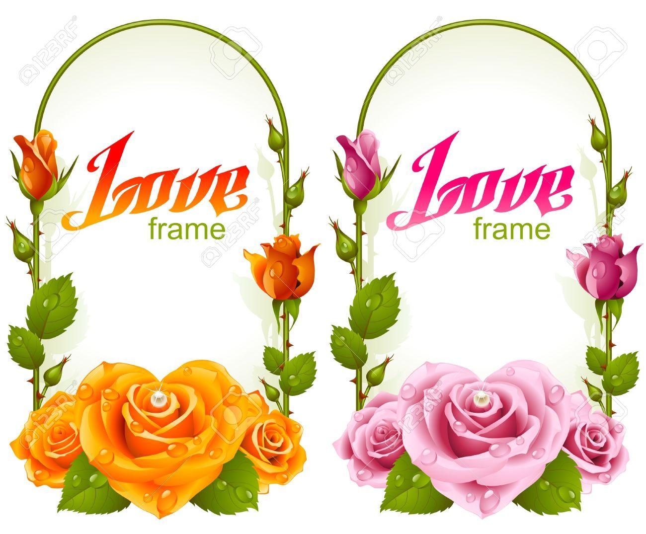 Rose Frames. Wedding, Birthday Or Valentine Day Vertical Banners ...