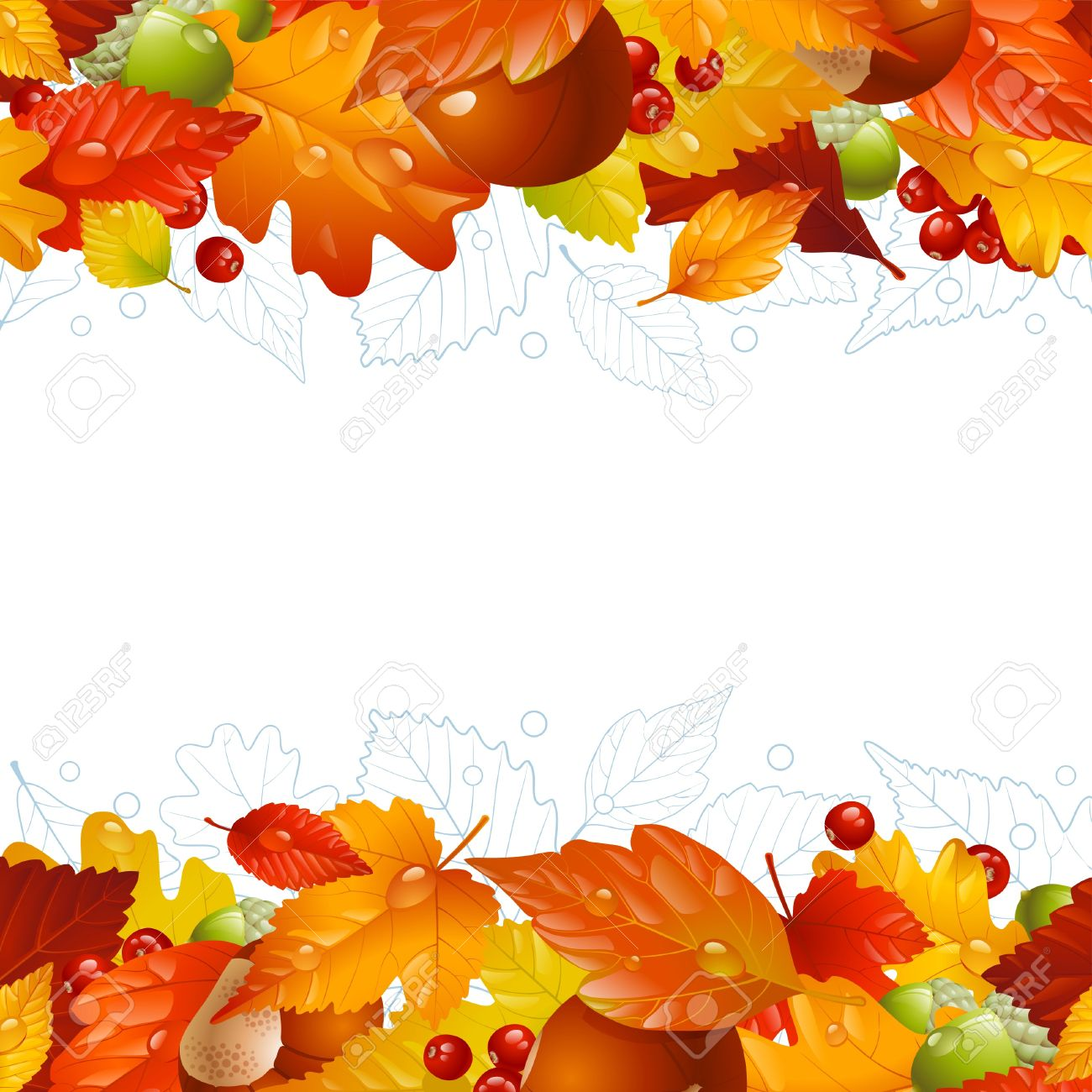 autumn background with fall leaf, chestnut, acorn and ashberry Stock Vector - 15979042