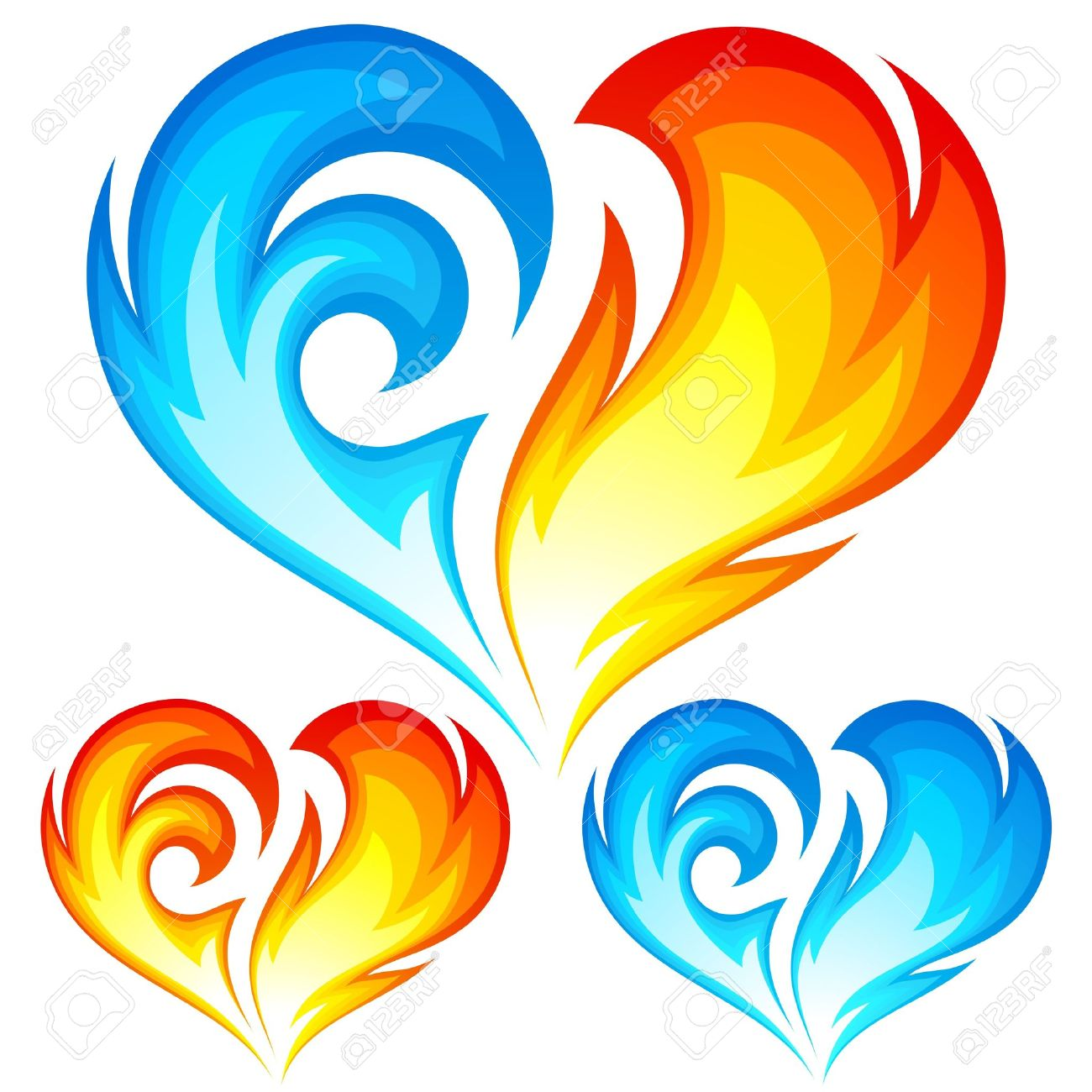 Fire And Ice Heart Symbol Of Love Royalty Fri Clipart Vektorer