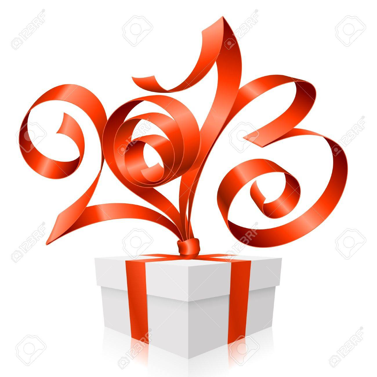Vector red ribbon in the shape of 2013 and gift box. Symbol of New Year Stock Vector - 16307829