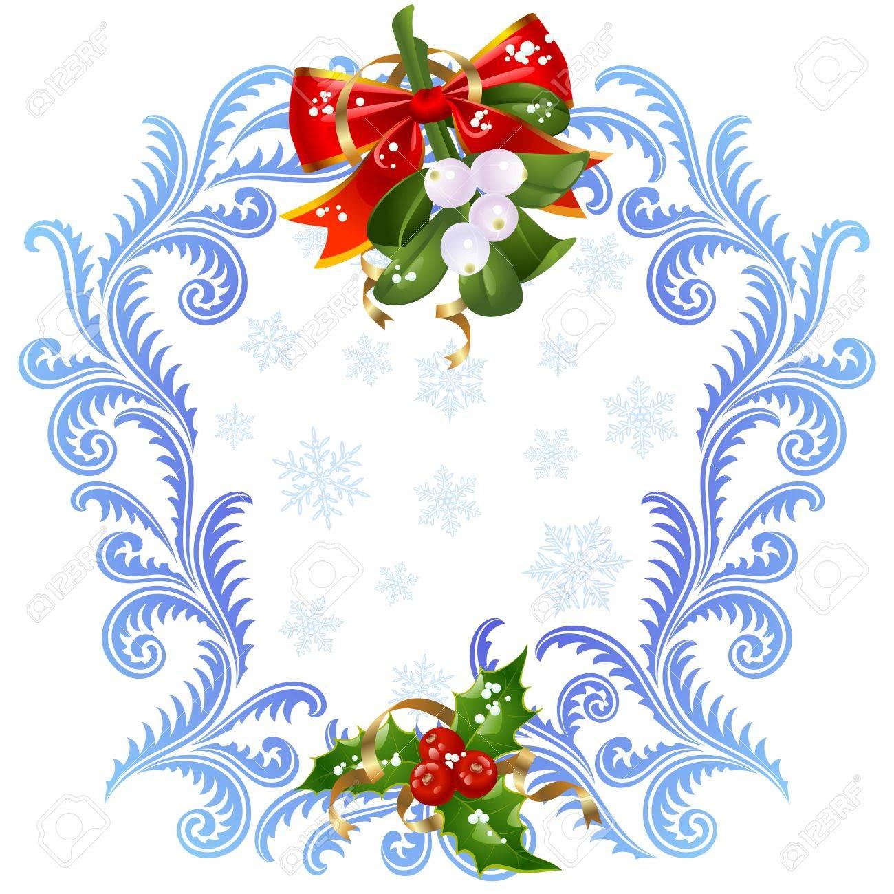 Extrêmement Noël Et Nouvel An Carte De Voeux 6. Le Gui Et Le Houx Clip Art  XM25