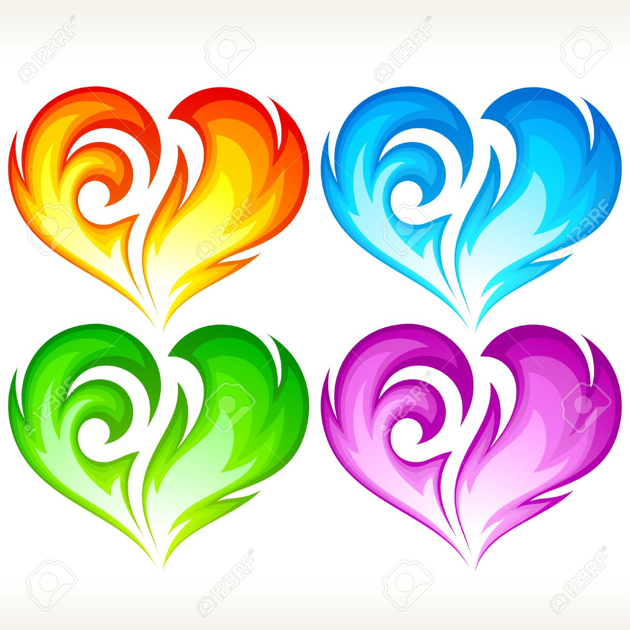 Set of burning heart. Red, blue, green and purple symbol of love. Stock Vector - 16462023