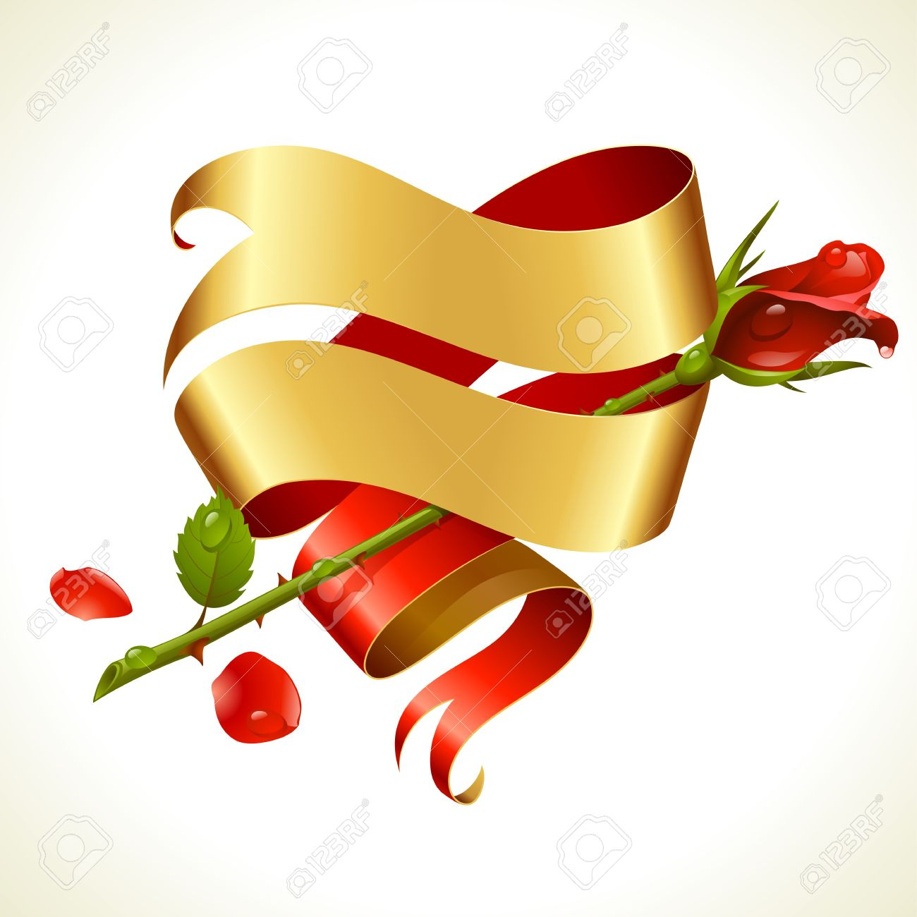 Ribbon banner in the shape of heart and red rose. Valentine's Day Card. Stock Vector - 17567094